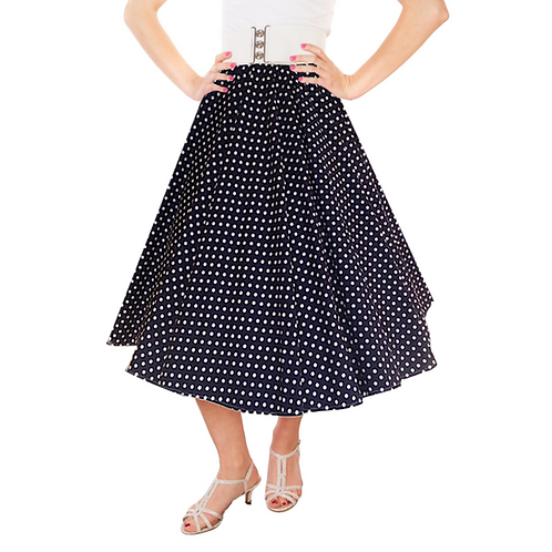 IC263 Black 1950's Style 'Dotty' Skirt