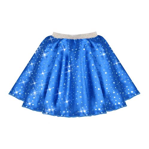 IC208 Royal Blue Satin Sequin Skirt