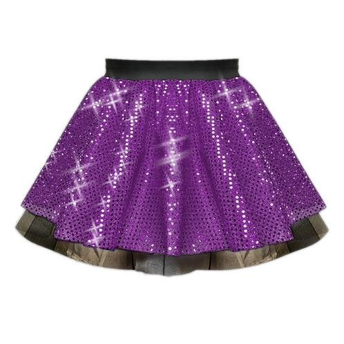 IC122 Purple Sequin Tutu Dance Show Skirt