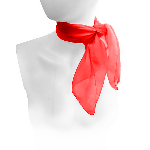 Red 1950's Style Chiffon Neck Scarf