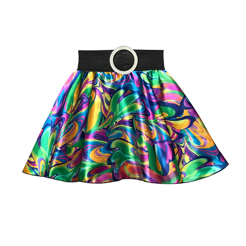 IC277 Blue 70's Circle Skirt
