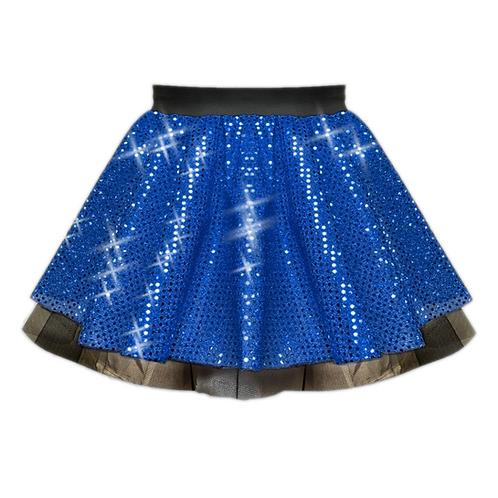 IC122 Royal Blue Sequin Tutu Dance Show Skirt