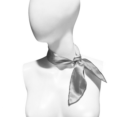 IC266 1950's Silver Satin Neck Scarf