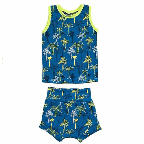 Palm Trees Tank and Shorties Set
