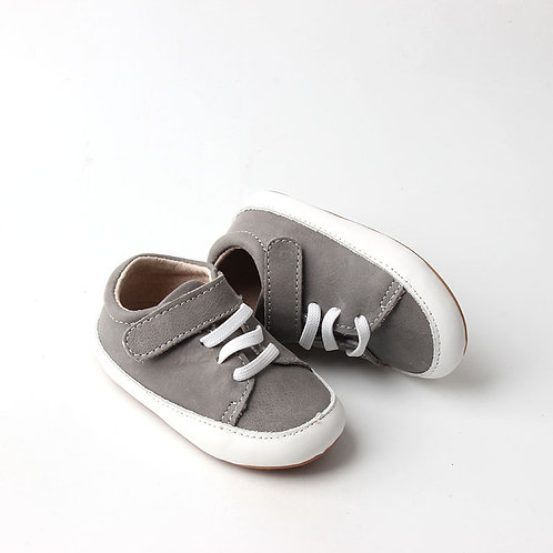 Grey Leather Children's Sneakers