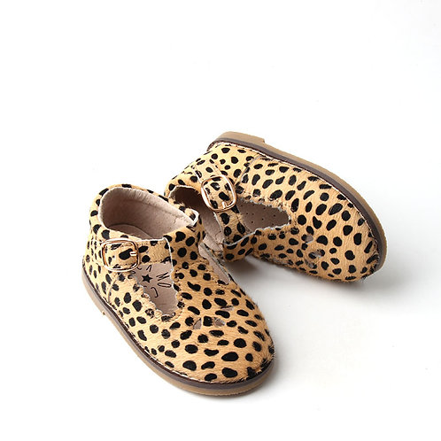 Children's Leopard Print Leather Shoes