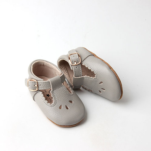Grey Leather Baby T-Bar Shoes