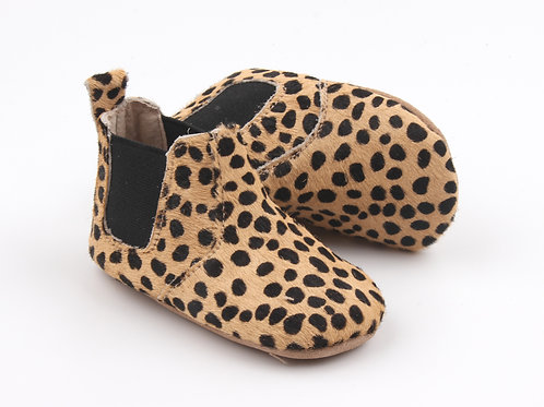 Animal Print Leather Baby Boots