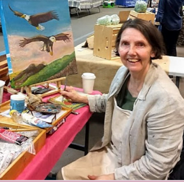 Diane Rae painting with acrylic at the On Site Art in 2020 in Nanaimo British Columbia