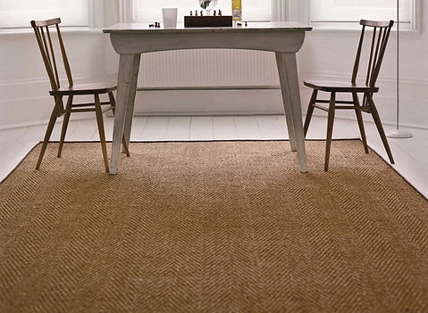 Coir Rug made from Coir Herrngbone with a Cotton Herrinbon Cream Border C9 andCocoa Piping COR5
