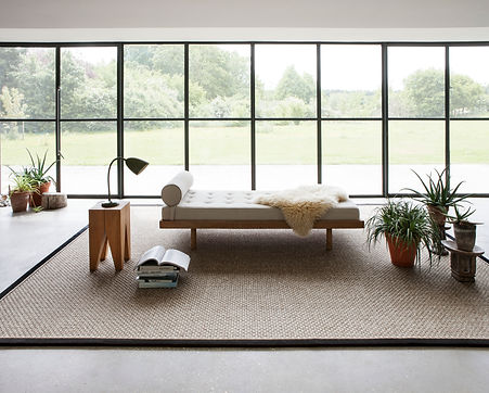 Sisal Natural Rug, made from Sisal Aztec, colour Alabaster with a Suede Ebony Border and Ivory Piping