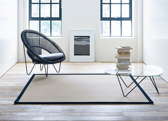 Wool Storm Stone WS801 with Linen Basketweave Black Border