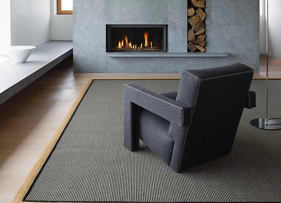 Linen n Wool Natural Rug with Linen Border and Piping
