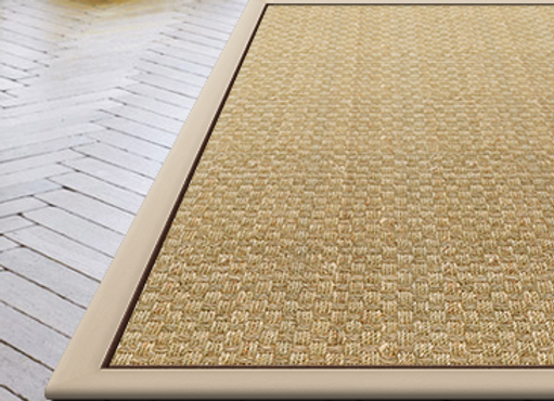 Seagrass Basketweave Leather Border