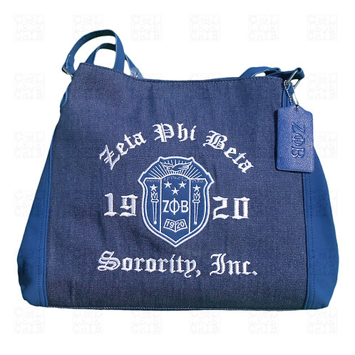 Zeta Crest Denim Shoulder Tote