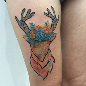 Watercolor Stag Tattoo