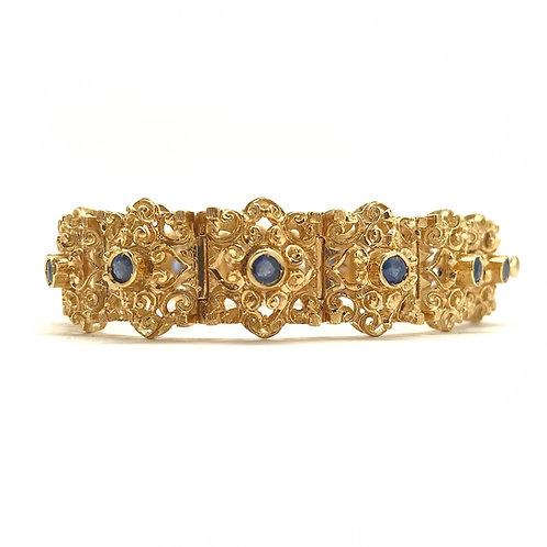 18KT Yellow Gold Etruscan Style Sapphire Bracelet