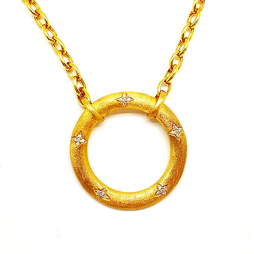 14KT Yellow Gold Diamond Circle Necklace