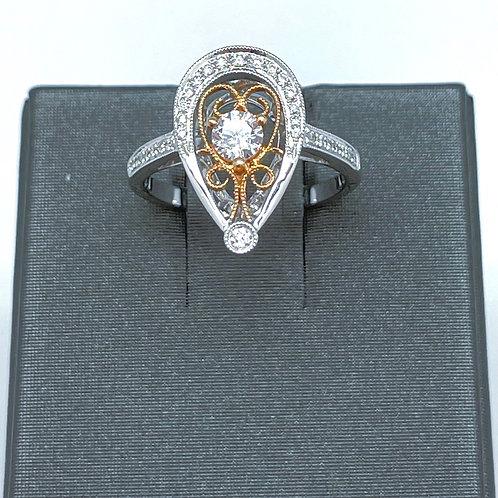 14k Filigree Diamond Ring