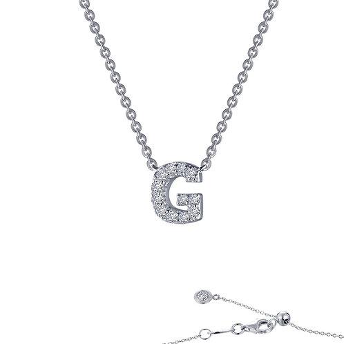 "Dainty Designer Block ""G"" Necklace Lassaire Simulated Diamonds"