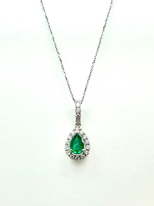 18kw .26ctw Emerald And Diamond Pendant