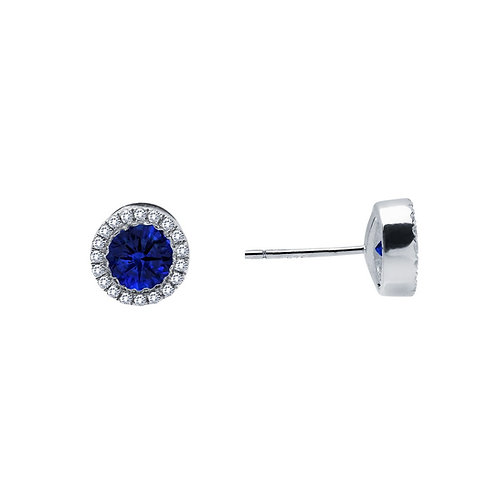Timeless Lab Grown Sapphire Halo Stud Earrings Lassaire Simulated Diamonds