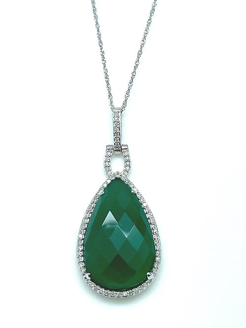 14k White Gold Agate And Diamond Pendant