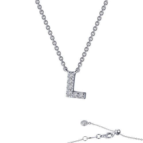 "Dainty Designer Block ""L"" Necklace Lassaire Simulated Diamonds"