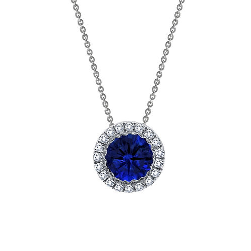 Lab Grown Sapphire Solitaire Halo Pendant Lassaire Simulated Diamonds