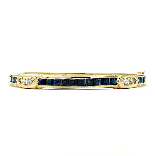 14KT Yellow Gold Sapphire and Diamond Bangle
