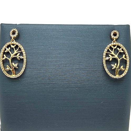 "10k ""Tree of Life"" Diamond Earrings"