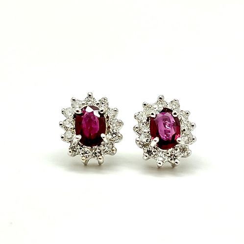 14kw 2.25ctw Ruby And Diamond Earrings