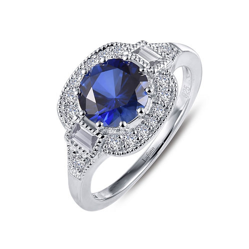 Art Deco Style Lab Created Sapphire Ring Lassaire Simulated Diamonds