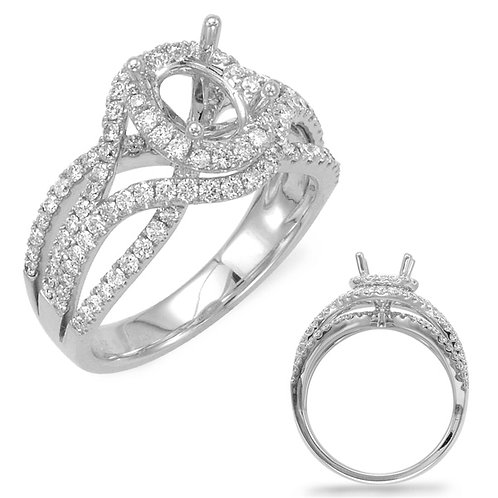 14kt White Gold Engagement Semi-mounting