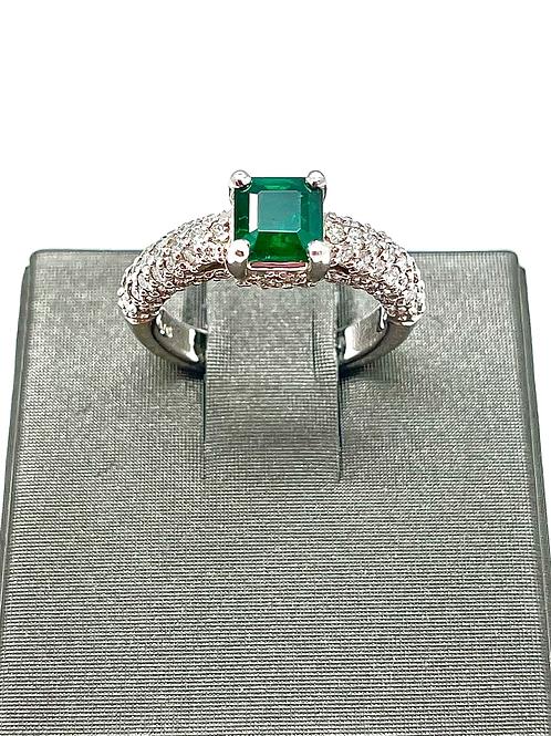 14kw 1.87ctw Emerald And Diamond Ring