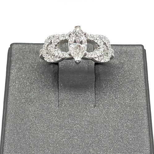 1.10ctw 14k Marquise Diamond Engagement Ring