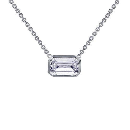 Emerald Cut Bezel Solitaire Necklace Lassaire Simulated Diamond
