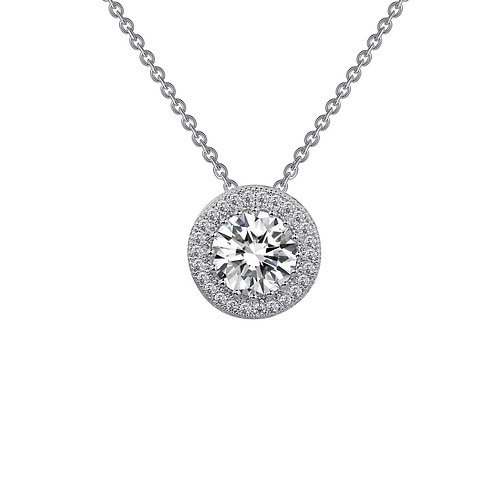 Round Halo Pendant with Chain Lassaire Simulated Diamonds