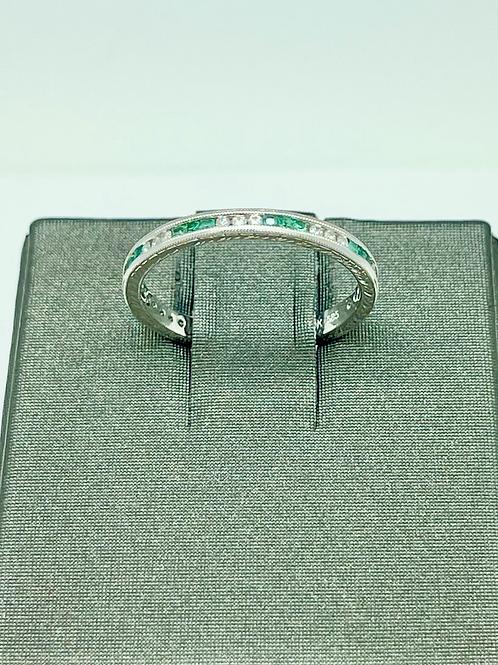 14kw Art Deco Style Emerald And Diamond Band
