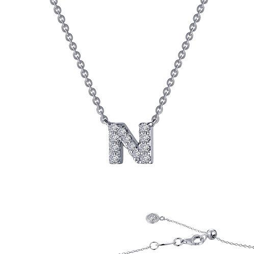 "Dainty Designer Block ""N"" Necklace Lassaire Simulated Diamonds"
