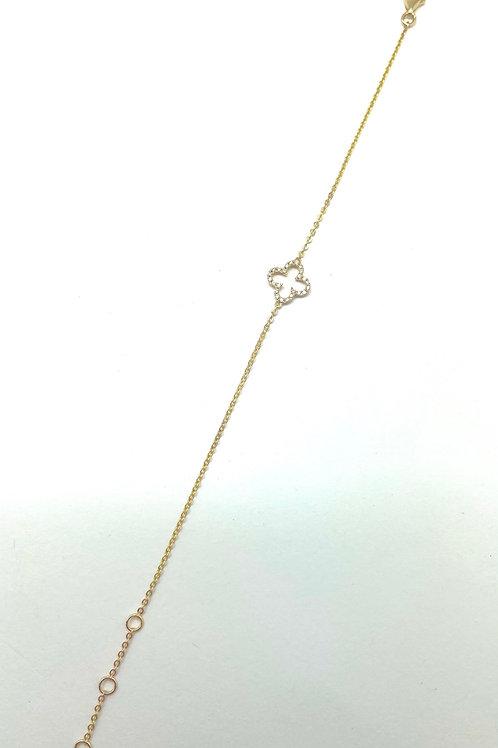 14k Yellow Gold Quadrafoil Diamond Bracelet