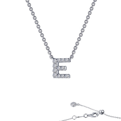 "Dainty Designer Block ""E"" Necklace Lassaire Simulated Diamonds"