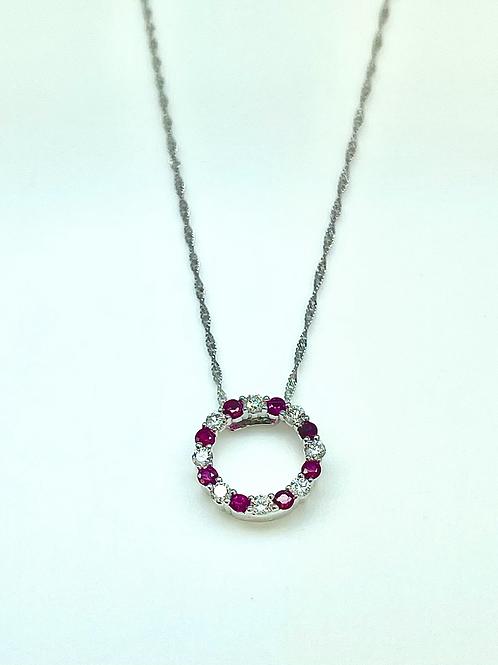 14kw .63ctw Ruby And Diamond Circle Pendant
