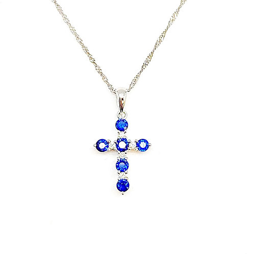 14KT White Gold Sapphire and Diamond Cross Pendant