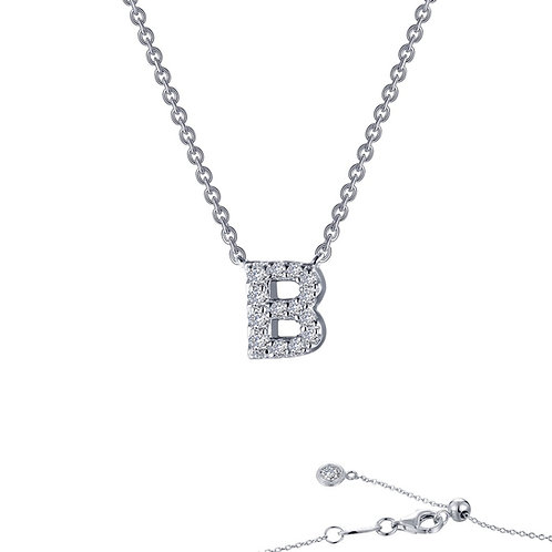 "Dainty Designer Block ""B"" Necklace Lassaire Simulated Diamonds"