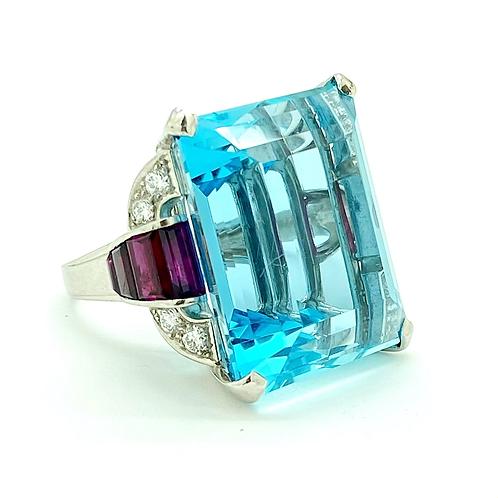 40.00 carat Aquamarine 1950's Retro Platinum Ring