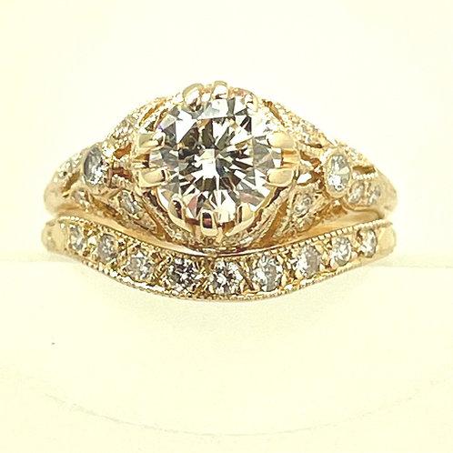 1.35ctw 14k Yellow Gold Vintage Style Bridal Set