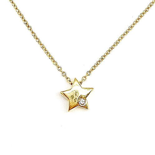 """14KT Yellow Gold Star Necklace 18"""""""