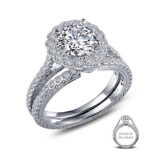 """""""Joined At The Heart"""" Designer Wedding Set Lassaire Simulated Diamonds"""