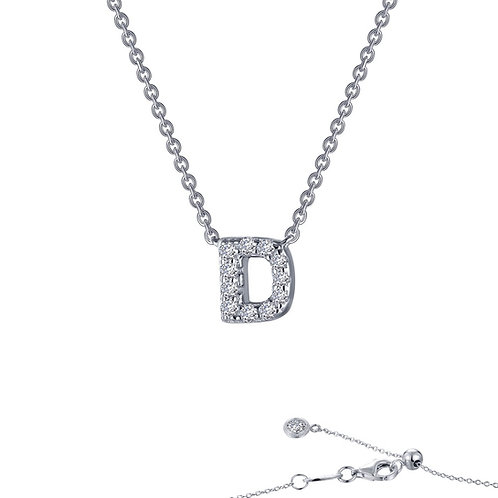 "Dainty Designer Block ""D"" Necklace Lassaire Simulated Diamonds"